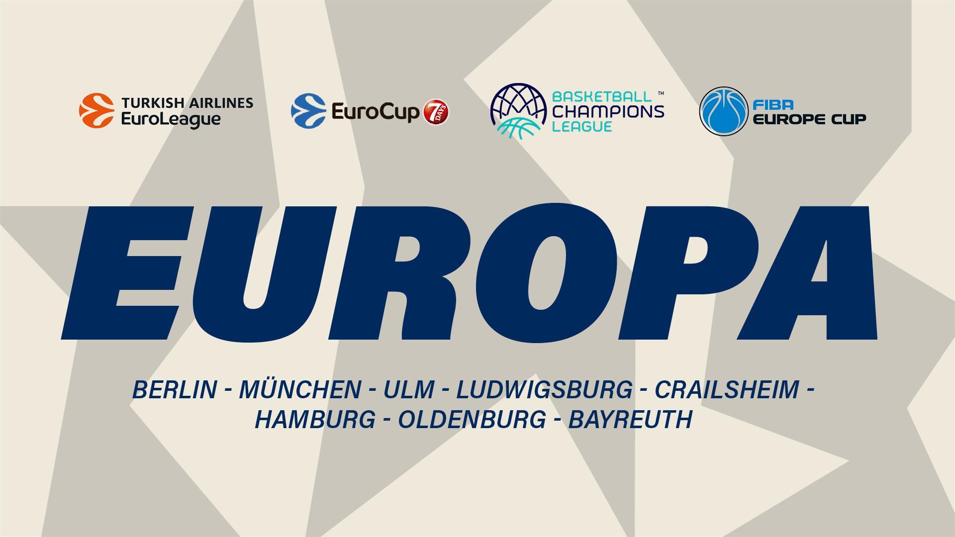 In diesem Blog fassen wir zusammen, wie unsere Klubs in den internationalen Wettbewerben abschneiden. Neben generellen Infos zum Europapokal aus deutscher Sicht gibt es hier Highlight-Videos, Boxscores und Nachberichte: